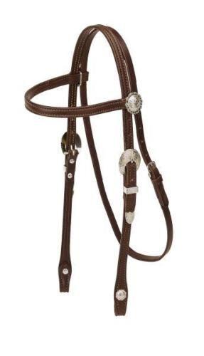 Tory Leather frontalera Cabezada-grandes hebillas & Conchos de plata-PONY-darkoil