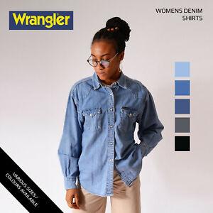 Vintage-Damen-WRANGLER-Denim-Shirts-XS-S-M-L-XL-XXL