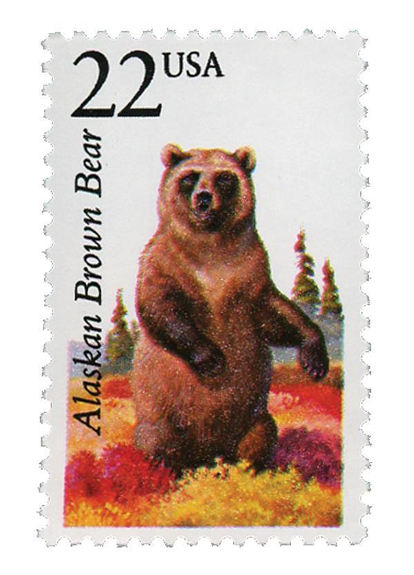 1987 22c Alaskan Brown Bear, North American Wildlife Sc