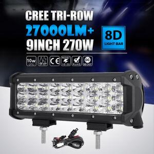 Triple Row 9INCH 270W CREE LED Work Light Bar Offroad Modify Kit Spot Flood Beam