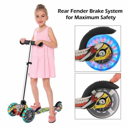 Dreiradscooter 3-Rad Kinderroller Roller Scooter Cityroller mit LED a 02