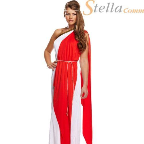 Ladies Red Greek Roman Greek Goddess Toga Fancy Dress Outfit Womens Costume