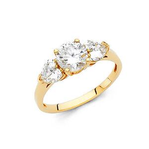 14k-Yellow-Gold-2-0-Ct-Diamond-Solitaire-Engagement-Ring-3-Three-Stone-Round-Cut
