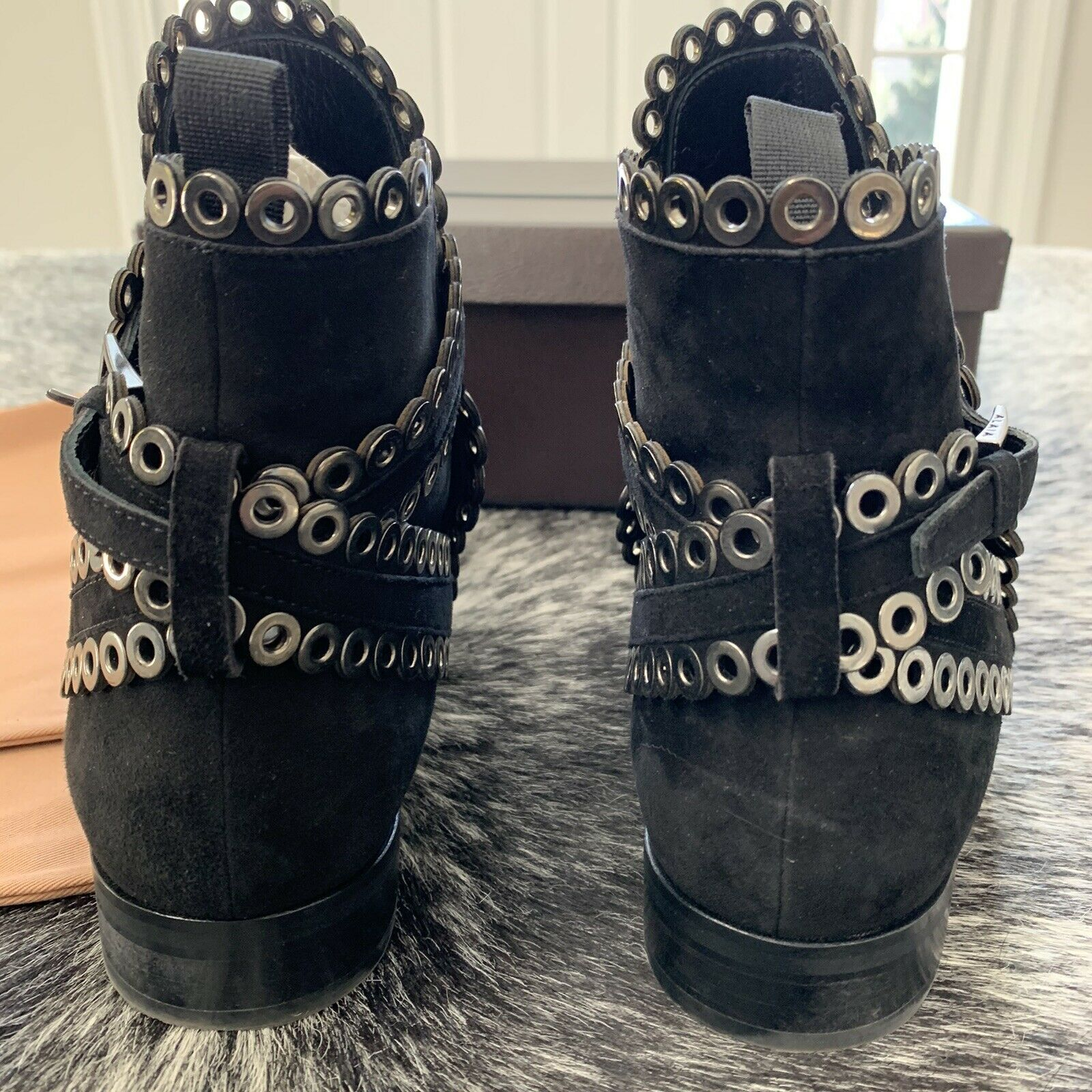 AZZEDINE ALAIA Black Suede Grommet Ankle Boots Si… - image 8