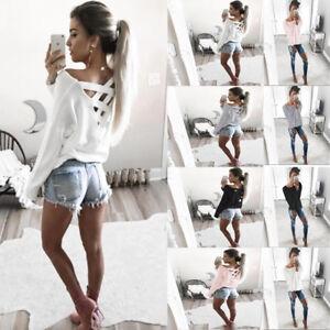 DE-Damen-Cut-Out-Oberteile-Rueckenfrei-Blusen-Bandage-Pullover-Patchwork-Sweater