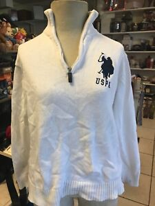 a775ffa4f US POLO ASSN Sweater Men s Half Zip Pullover White Size L