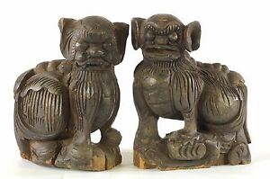 Pair of Antique Chinese Wooden Statue Animal Foo Dog/Lion, 19 ° do