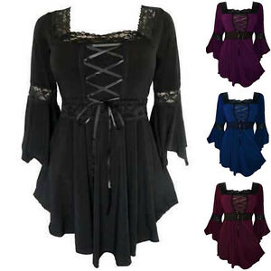 Women-039-s-Gothic-Steampunk-Flared-Sleeve-Lace-Up-T-Shirt-Tunic-Blouse-Tops-UK8-22