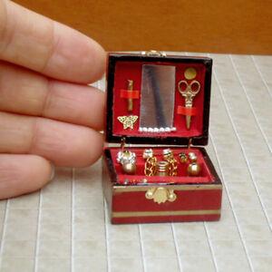 01-12-Puppenhaus-Miniatur-Gefuellt-Holz-Schmuckschatulle-Schlafzimmer-Accessorie