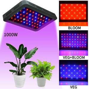 1000W Led Grow Light Full Spectrum Double Switch for Indoor Plants Veg /& Bloom