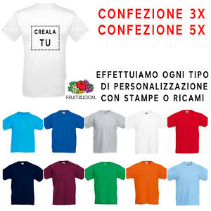 Maglietta-t-shirt-Maniche-Corte-Bianca-Colorata-Uomo-Bambino-Fruit-of-the-Loom