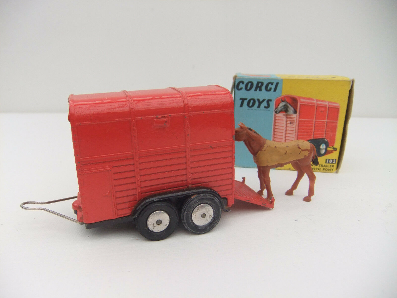 Corgi 102 Rices Pony Horse Trailer Vintage Model Original  Boxed Toy 1960s & Pony  réductions et plus
