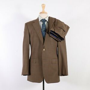 Henry Jacobson 40R 34 Brown Check 100% Wool Two Button Flat Front Suit