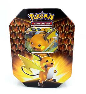 Pokemon-Tin-Box-Raichu-GX-Nr-80-Verborgenes-Schicksal-Neu-OHNE-Booster-DE
