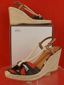 86082a980d0 Details about NIB COACH CATALINA MULTI-COLOR FABRIC ROPED VAMP ESPADRILLE  WEDGE SANDAL 10 $159