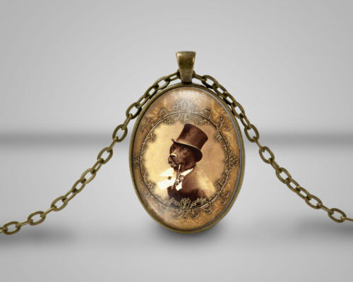 Dog in a top hat cameo pendant Anthropomorphic Necklace Handmade Gift