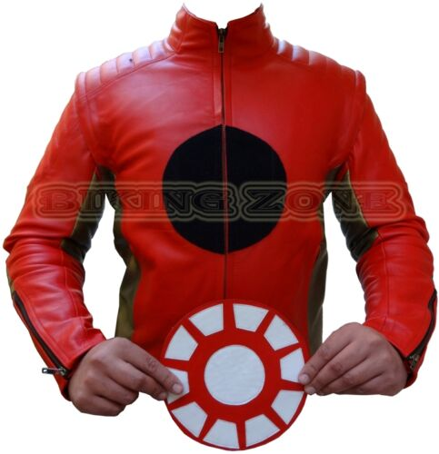 IRON MAN STYLE MENS REMOVABLE LOGO CE ARMOUR MOTORBIKE//MOTORCYCLE LEATHER JACKET