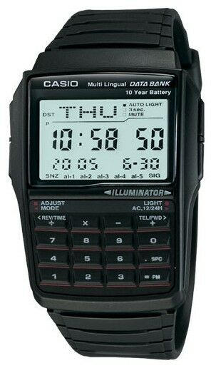 Casio DBC32-1A Men's Black Resin Band 25 Page Databank Calculator Watch