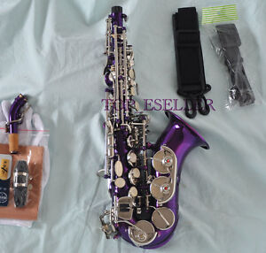 purple curved soprano saxophone bb sax silver nickel key high f with case ebay. Black Bedroom Furniture Sets. Home Design Ideas