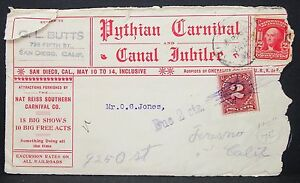 Pythian-Carnival-Canal-Jubilee-Cachet-US-Cover-San-Diego-1904-USA-Letter-Y-436