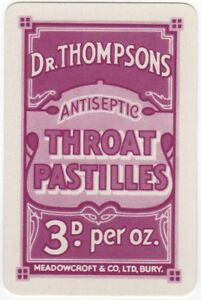 Playing-Cards-Single-Card-Old-Dr-Thompsons-THROAT-PASTILLES-Advertising-Medicine