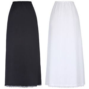 Women-Ladies-Black-White-High-Waist-Long-Underskirt-Petticoat-Half-Slips-Skirts