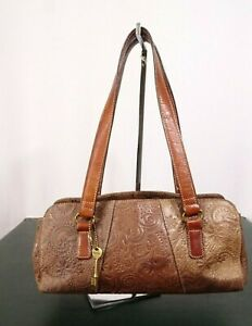 Vintage-Fossil-Brown-Leather-w-Floral-Etching-Pattern-Handbag-Purse-Pre-Owned