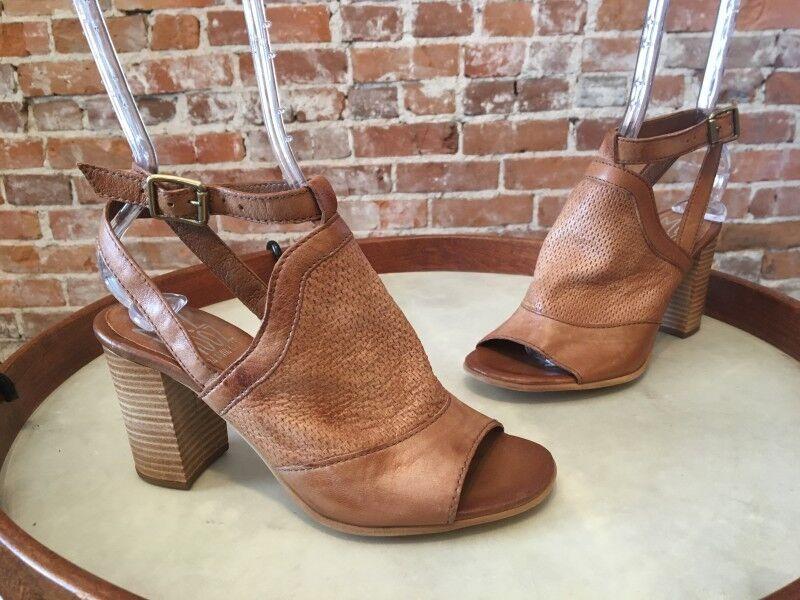 Miz Mooz NYC Whiskey Braun Leder Peep-toe Block Heel Sandale 39 8.5 9 Sale