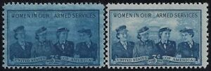 """1013 - 3c Over Inking Error / EFO """"Women in Our Armed Services"""" Mint NH"""