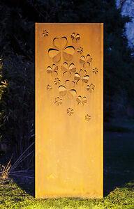 Gartenwand Sichtschutz Wand Klee Stahl Rost 75x195 Cm Ebay