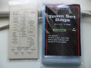Details About Package Of 100 Strat O Matic Baseball Individual Team Set Bags Holds 24 Cards