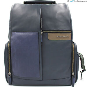 PIQUADRO-men-039-s-blue-leather-High-Tech-backpack-14-034-laptop-iPad-combination-lock