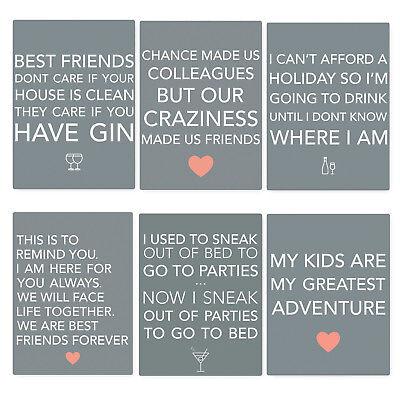 Retro Mini Grey Friends /& Family Saying Fun Hanging Signs 9x6.5cm