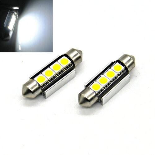 2x INTERIOR// NUMBER PLATE LED FESTOON 239 38MM 39MM CANBUS BULB 4Leds PURE WHITE