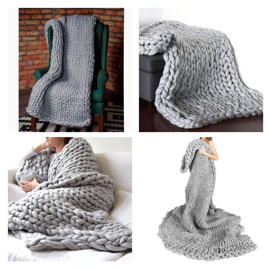 2 Stück 100x80cm Grobstrick Wolle Wolldecke Super Weich für Bett Gemütlich