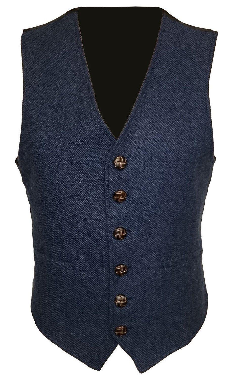 Marineblau Mens Wolle Tweed Enge Passform Weste Warnweste S M M M L XL 2XL 3XL | Modern Und Elegant  c8a26b