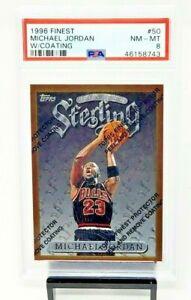 1996-Topps-Finest-w-Coating-HOF-Bulls-MICHAEL-JORDAN-Basketball-Card-PSA-8-NM-MT