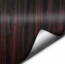 Vvivid Dark Wood Grain Faux Finish Textured Red Vinyl Wrap 12 Inches X 48 Inc