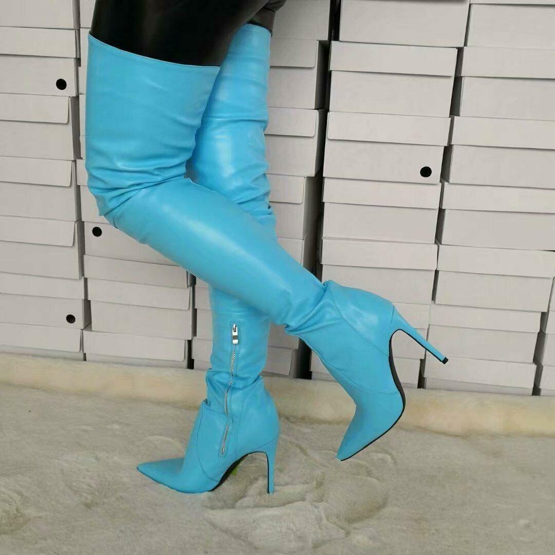 Big Dimensione 4-15 TRENDY donna Over the Knee stivali Stiletto Marroneee scarpe Nighclub sz