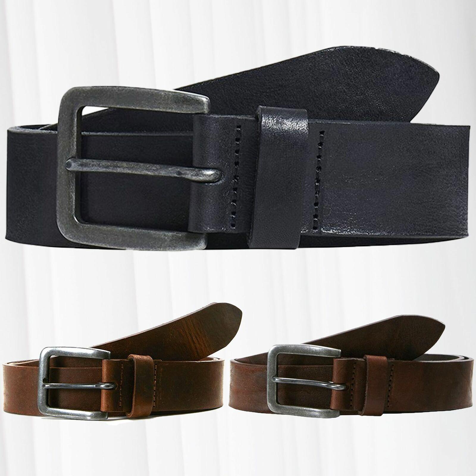 JACK & JONES Men Leather Belt JACVICTOR Genuine-Leather Metal Buckle Classic
