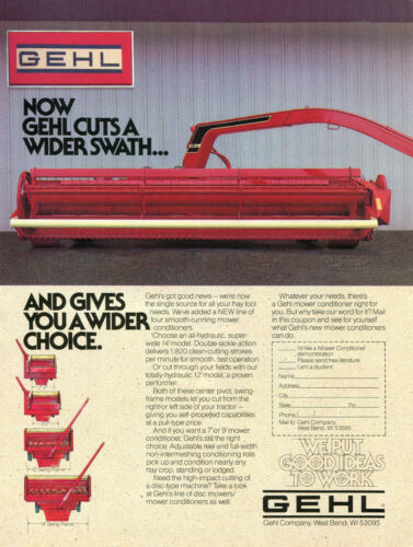 1983 Print Ad of GEHL Tractor Mower Conditioner