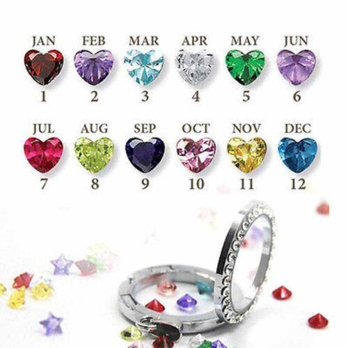 12 un meses piedras corazón encantos flotantes para Collar de Memoria Viva