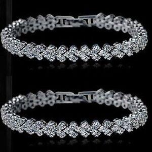 Luxus-Armband-Schmuck-Kette-Kristall-Strass-Hochzeit-Braut-Silber-Klar-Laenge18CM