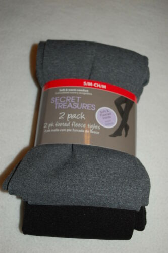 Womens 2 PAIR PACK FOOTED TIGHTS Fleece Lined BLACK /& GRAY Soft /& Warm SIZE S-M