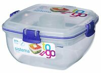 Sistema Klip It Salad To Go Food Storage Container Lunch Box Plastic Kitchen