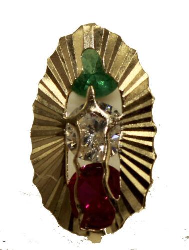 Virgen de Guadalupe avec drapeau mexicain Zircone Cubique lunette or 14k Vis Arrière Boucles d/'oreilles