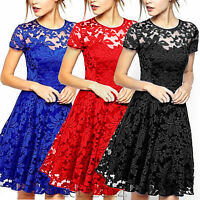 Women's Pleated Lace Dress Cocktail Formal Party Evening Bridesmaid Mini Dresses