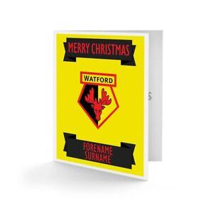 Watford F.c - Personnalisé Carte De Vœux (crest)-afficher Le Titre D'origine Les Couleurs Sont Frappantes