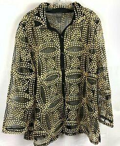 TRAVELERS Chico's Women's Size 3 Needle Stitch Black & Gold Jacket NWT $139