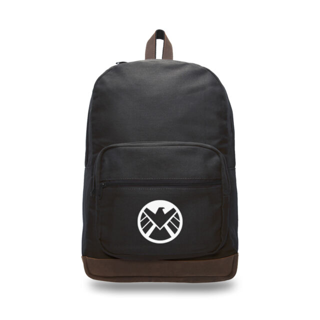 Agents of Shield Logo Canvas Rucksack Backpack with Leather Straps